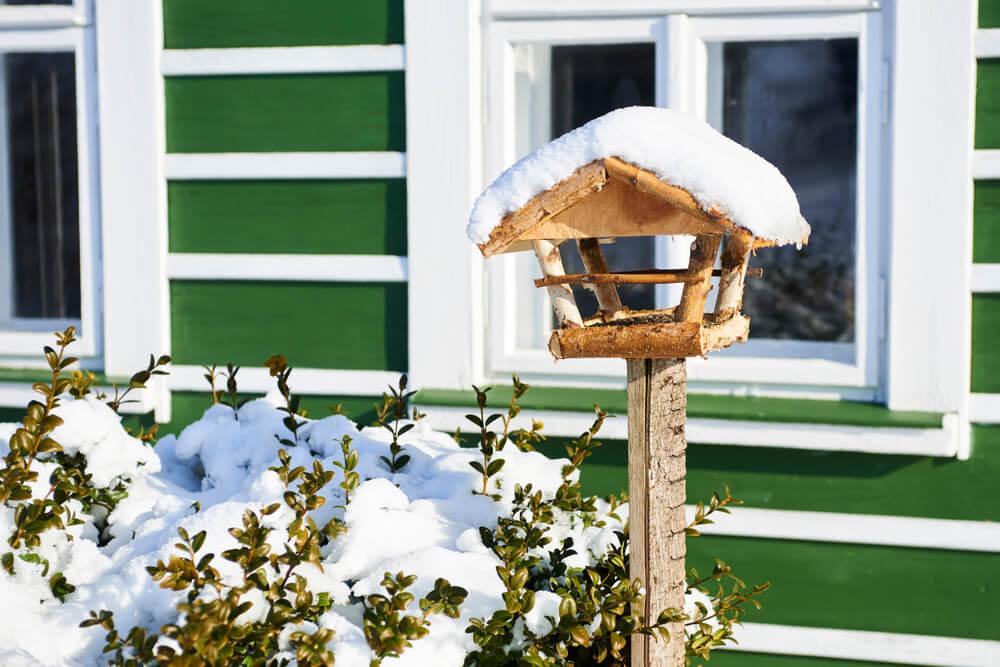 Vogelhaus mit Ständer und Schnee